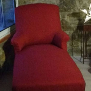 Chaise longue ou méridienne rénovée par l'atelier de Sylvie