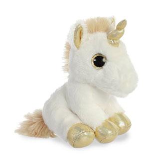 Peluches de unicornio dorado