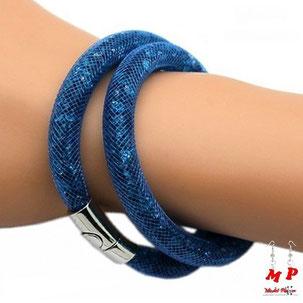 Bracelet double Stardust bleu marine incrusté de strass
