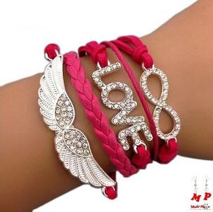 Bracelet fuchsia infini et breloques aile blanche et love serti de strass