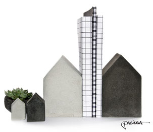 Quirky Houses Concrete Bookend Set by PASiNGA
