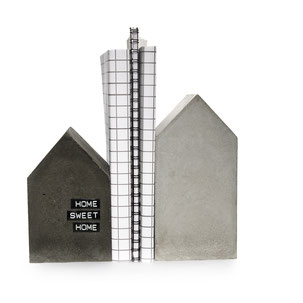Large Concrete House, Black and Grey Bookend Set by PASiNGA