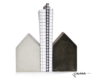 Concrete House Bookend Set of two by PASiNGA