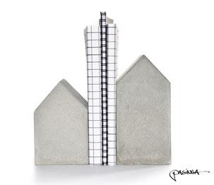 Large Concrete House Bookend Set by PASiNGA