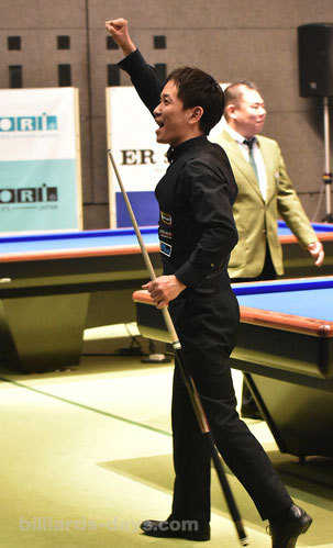 Nobuyasu Sakai won 74th All Japan 3 Cushion Championship