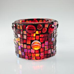 Windlicht, Liebe, Rotes Glas, Verlobung, Tischdekoration rot, Weihnachten, Glasmosaik