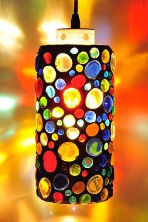 Hängelampe, Lampe Glas, Bar, Beleuchtung, Gaststätten, Interieur Design,  Glasmosaiklampe,
