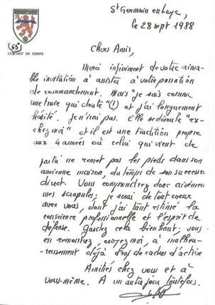 Lettre du colonel Le GOFF, ancien CDC du 99e R.I.