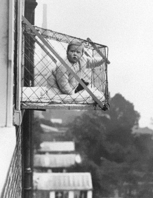Baby cages used to be used to ensure young children living in high rise apartment buildings got enough sunlight