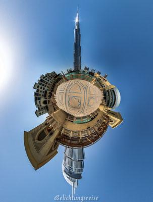 Kugelpanorama,  Burj Khalifa, Dubai, 180x360 Panorama, 360 Grad, 360 Grad Panorama, Belichtungsreise, Emirate Panorama