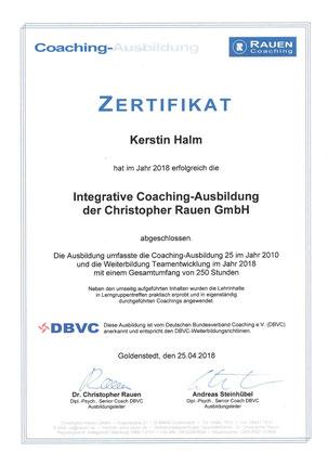 Zertifikat Kerstin Halm Coaching - Integrative Coaching Ausbildung der Christopher Rauen GmbH