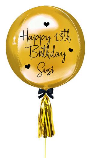 Ballon Luftballon Heliumballon Bubble Orbz Geburtstag Geschenk Idee Deko Überraschung Versand Box Personalisierung personalisiert Namen Text Alter Tassel modern elegant 13 Happy th Birthday