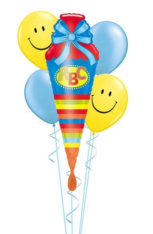 Ballon Luftballon Heliumballon Folienballon Ballonstrauß Bouquet A B C Schule Schulkind Einschulung Schultüte Smiley Überraschung Geschenk Foto 1. Schultag Herz Versand Helium blau rosa pink