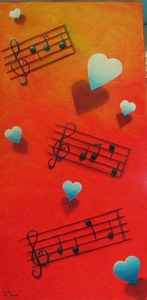 des coeurs lumineux et des notes de musique