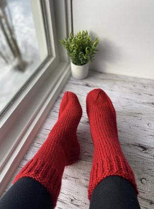 chaussettes bas tricot rouge laine valentine acrylique
