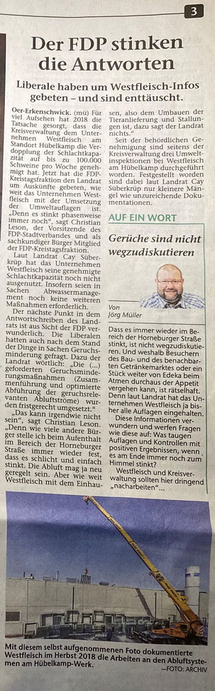 Artikel der Stimberg Zeitung vom 08.01.2020