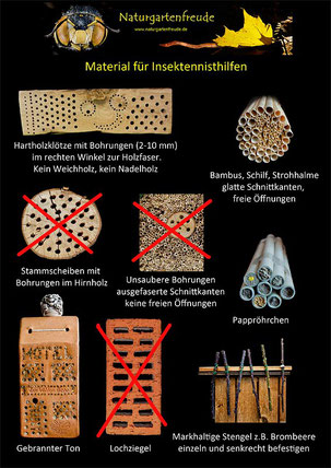 Schautafel  poster Nisthilfe insect nisting aid Insektenhotel insect hotel Wildbiene wild bee bug house Neudorff