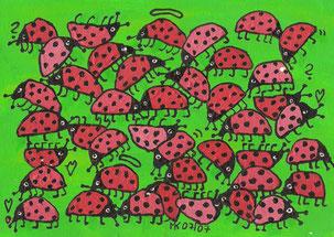 """""""Glückssträhne"""",  Acryl auf Papier  24/17cm 07/07"""