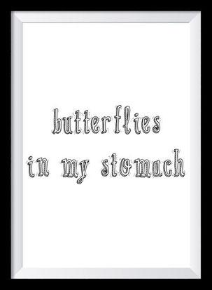 Typografie Poster Liebe, Typografie Print, Butterflies in my stomach