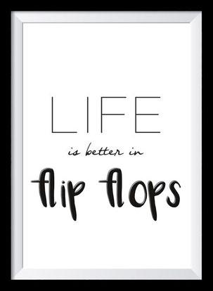 Typografie Poster. Typografie Print, Reisen, Flip Flops