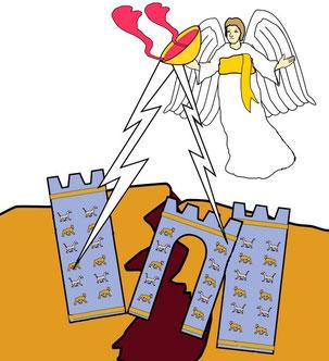 Babylone la grande, l'empire mondial de la fausse religion, va aussi boire la coupe de vin de son ardente colère. Elle sera complètement détruite. Dieu se souvint de Babylone la grande pour lui faire boire la coupe du vin de son ardente colère.