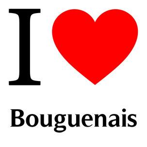 j'aime bouguenais écrit avec un coeur rouge