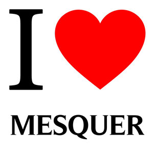 j'aime MESQUER écrit avec un coeur rouge