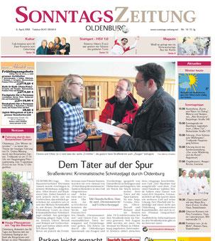 """Zeitungsbericht der Oldenburger Sonntagszeitung vom 06.04.2008: """"Dem Täter auf der Spur""""- Quelle: Sonntagszeitung Oldenburg"""