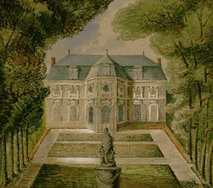 Bagatelle, façade arrière, aquarelle, collection Macqueron / C Bibliothèque municipale d'Abbeville