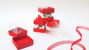 boîtes à dragées rouges et blanches mariage