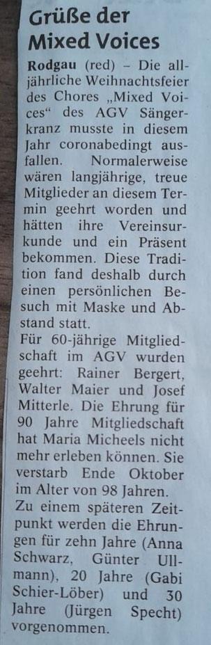 aus der Rodgau-Post vom 24.12.2020