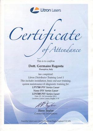 Certificato di formazione su laser Impulsati