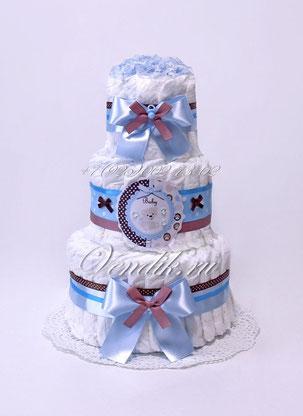 """Торт из памперсов подарок на рождение мальчика """" Беби"""""""