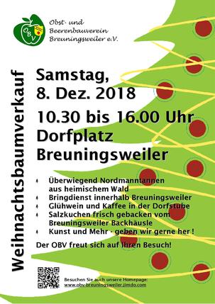 Weihnachtsbaumverkauf am Samstag, 08.12.208, Dorfplatz Winnenden-Breuningsweiler