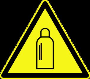 """Warnschild """"Warnung vor Gasflaschen"""" als Symbolbild für den Experimentalvortrag Propangas"""