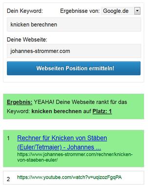 """Position 1 für das Keywort """"knicken berechnen"""", Screenshot von derdigitaleunternehmer.de"""