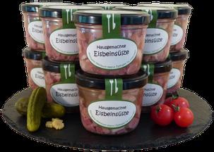 Weinbuchs Eisbeinsülze im Glas, Metzgerei Weinbuch, Öpfingen, Original Öpfinger Schwarzwurst