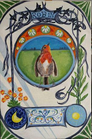 14.Robin art nouveau 40x60 cm