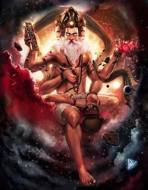 Brahma das höchste Jiva-Lebewesen innerhalb des Universums  bestehend aus reiner Intelligenz