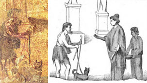 First known fresco of a guide dog : a beggar with a cane and leashed gog in front of a woman and her domestic handing him some change
