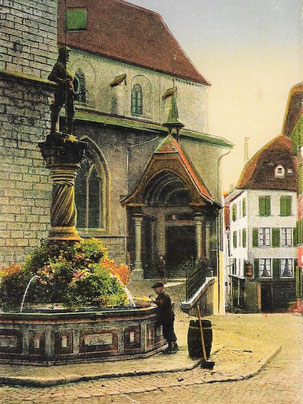 Kirche mit kapellenartigem Vorbau, später wieder entfernt.