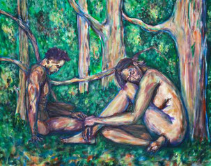 Wald, Lichtung, nackte Frau, nackter Mann, Natur, Baeume, Blaetter, Licht