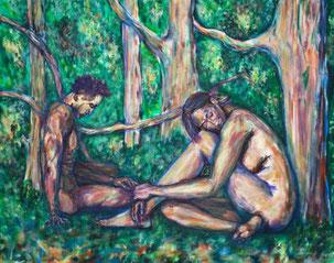 Sitzender nackter Mann und sitzende nackte Frau in einer Baumlandschaft