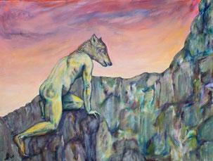 Nagual (Schutzgeist) ein Mischwesen aus Mensch und Tier (nackter Koerper eine Mannes und Kopf eines Wolfes)