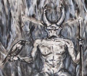 Kopf eines Hirschkaefers auf dem Koerper eines sitzenden Mannes, der in der Hand einen Raben haelt.