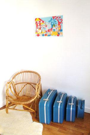 Série vintage de valises gigognes années 50