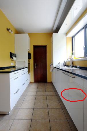 Immobilienfoto: Retuschiertes Bild, die Retusche einer Spiegelung wurde vergessen.