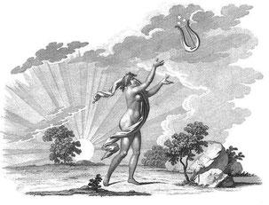 Orpheus erhält Apollons Lyra; Abb. in: A. Gräffer: Systematische Guitarre-Schule, 1811.
