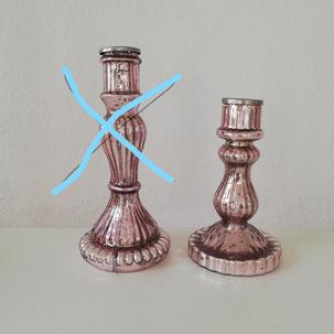 kleiner pinker Kerzenleuchter ohne Kerzen für die Tischdekoration einer Hochzeit oder Geburtstag Bielefeld