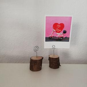 Tischnummern als Holzherz mit einer Zahl als Hochzeitsdeko aus Verleih